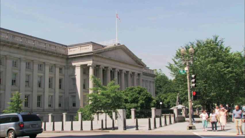 CIRCA 2010s - The U.S. Treasury building, exterior.
