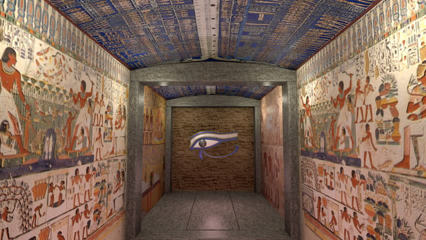 Ancient Egyptian Interior Architecture a 3d animation of a tomb in ancient egypt. a greenscreen behind a