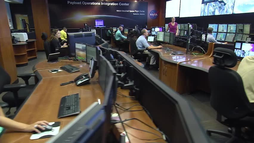 circa 2010s space station operations center at nasa hd stock footage clip