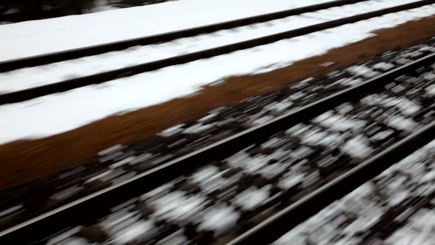 Railway tracks in snow