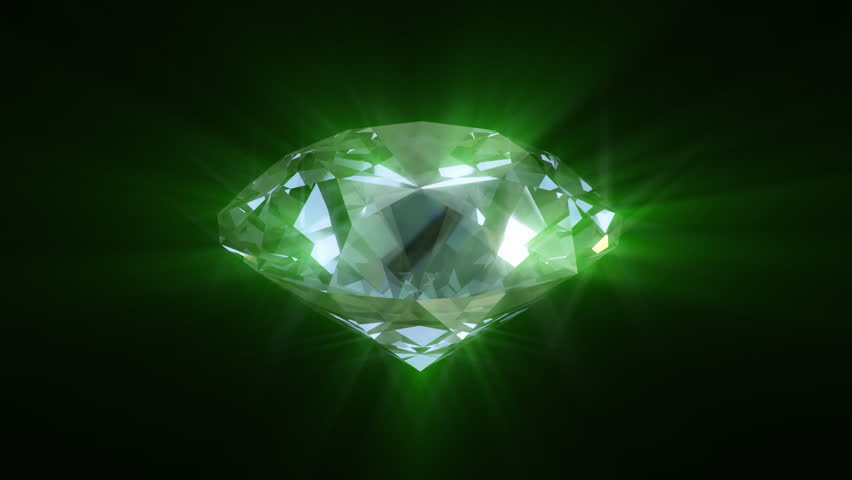 Spinning green shining diamond - looped 3d animation