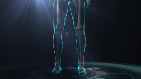Legs in anterior shot showing the skeletal system and the cardiovascular system with damaged blood vessels with radar on the base and light shining from the center at the top