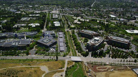 CALIFORNIA - CIRCA 2014 Aerial view of Silicon Valley area in California. Large commercial buildings with some of the Worlds biggest companies including Microsoft and Google