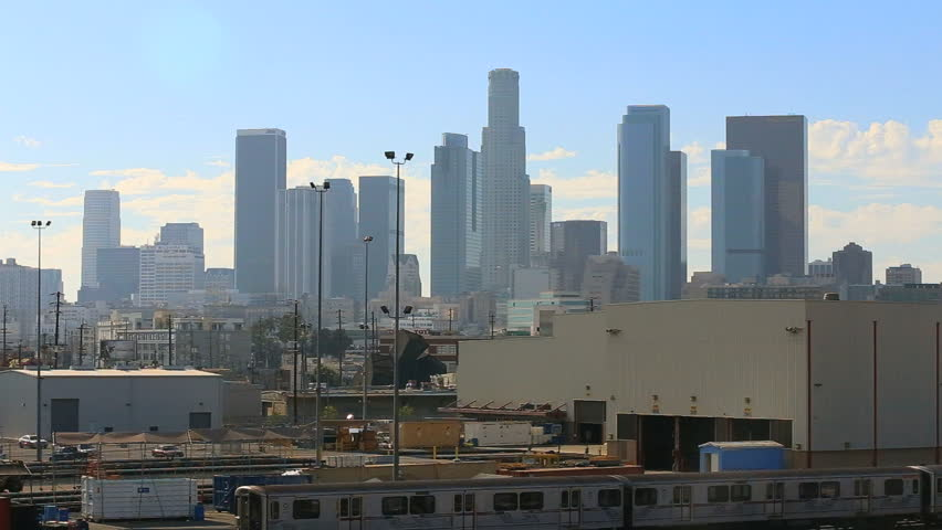 Downtown Los Angeles City Skyline with Blue Sky and Peaceful Clouds | Shutterstock HD Video #7246984