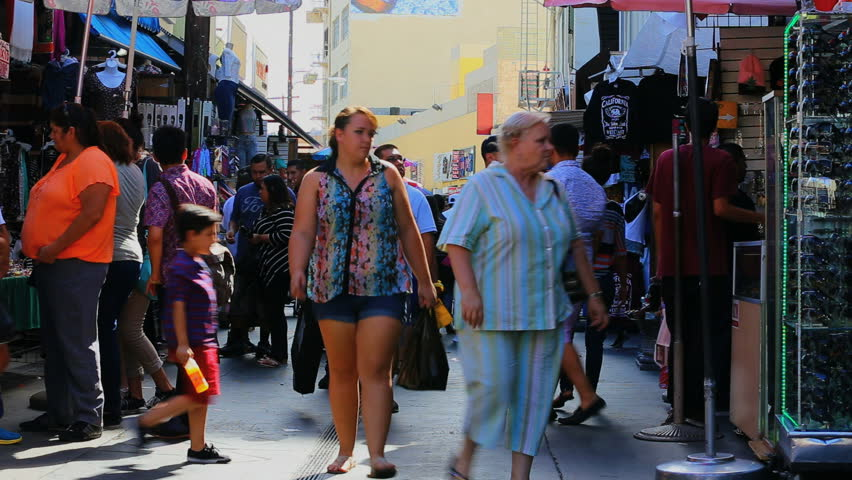 Los Angeles, California - September 7, 2014: Crowd of Shoppers and tourists at Fashion District Market September 7, 2014 in Los Angeles, California.