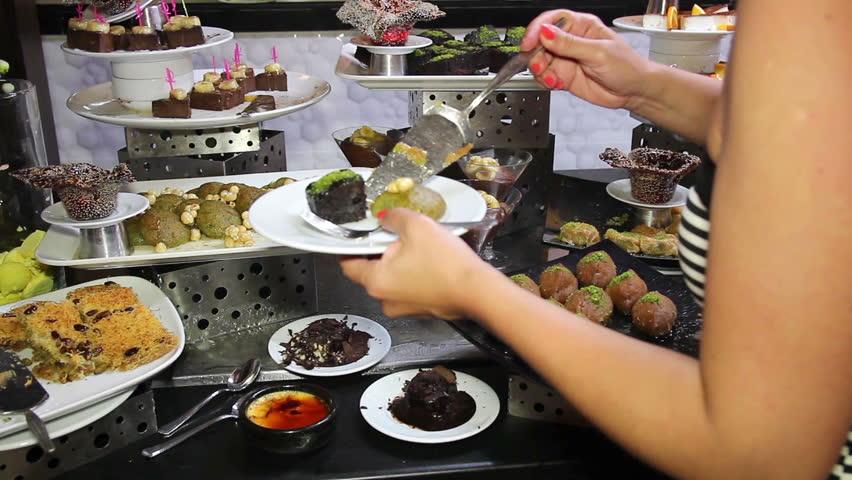 Assortment Of Desserts On Catering Buffet. Restaurant ...