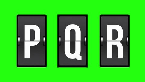 Letters P, Q, R on a mechanical timetable. Alphabet, characters and numbers on mechanical scoreboard. Full HD with green screen. Modern technology, 1080p, 1920x1080