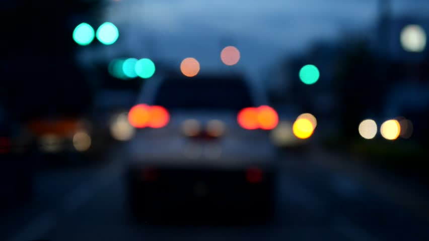 Night Traffic With City Lights. Motion Blur Bokeh