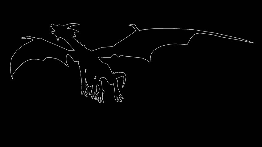 Dragon in fly. On black screen HD 2d line animation made in iclone 5 | Shutterstock HD Video #7337254