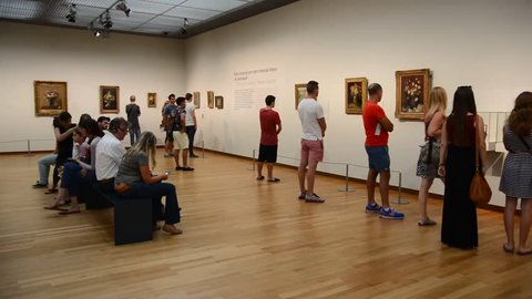 AMSTERDAM, CIRCA AUGUST 2014: Van Gogh Museum in Amsterdam  has the largest collection of Van Gogh's paintings the world. Each year you pass about a million tourists circa  august 2014 in Amsterdam