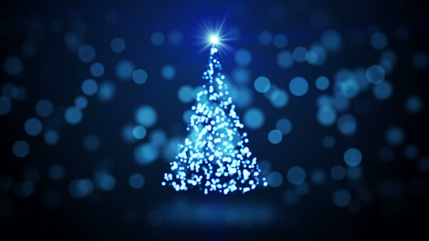 Graphic Animation Christmas Tree Twinkling Lights Rotating Blue Blurred Computer