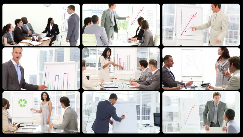 Montage of managers doing presentations in HD  | Shutterstock HD Video #737494