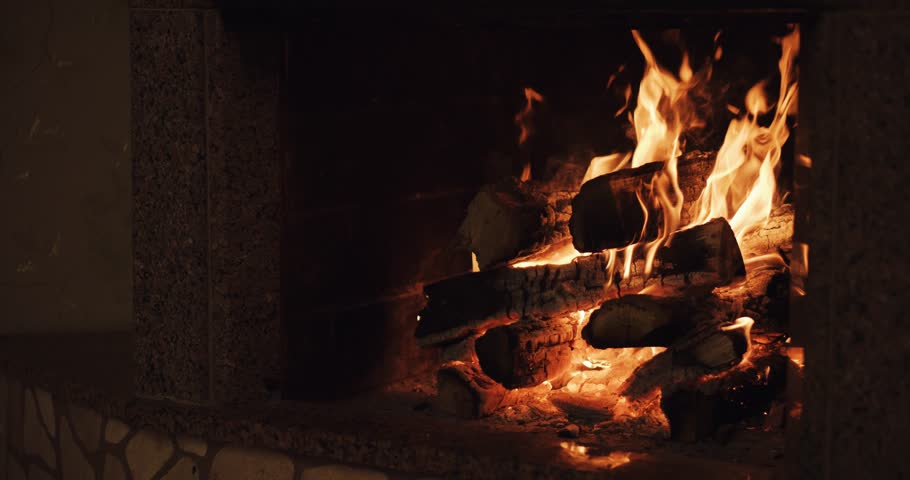 Slow Motion Of Fireplace Burning. Warm Cozy Burning Fire In A ...