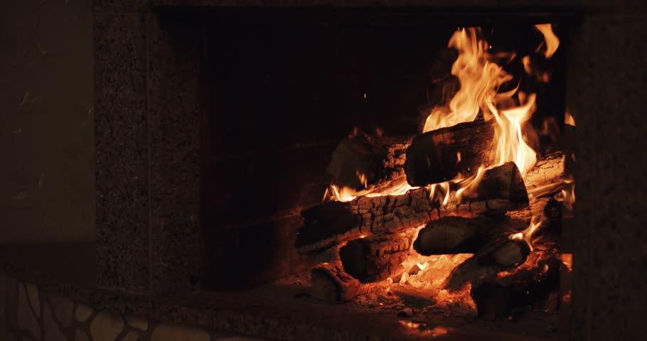 Slow Motion Of Fireplace Burning Warm Cozy Burning Fire