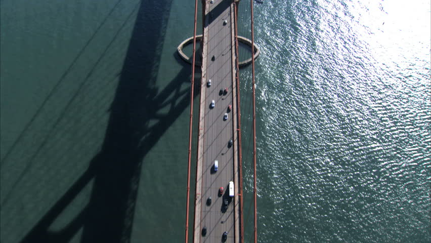 Aerial view of traffic on Golden Gate Bridge, San Francisco, USA