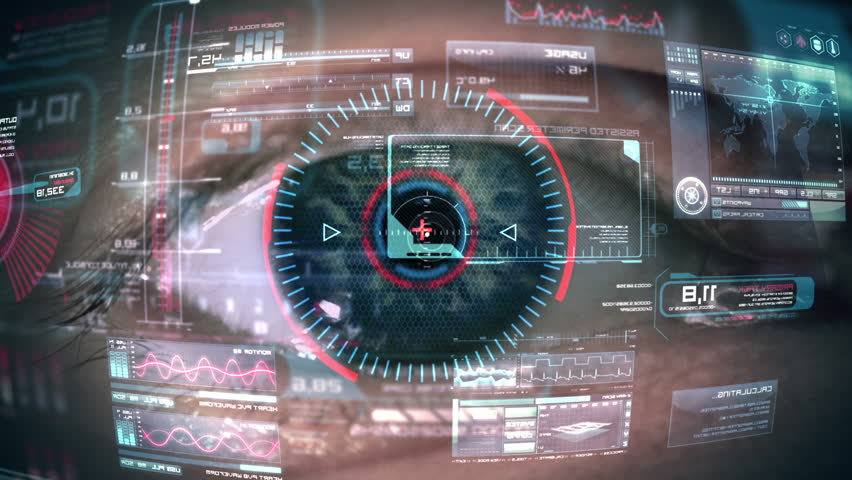 Close up to eyeball with futuristic, highly detailed 3d targeting system. Loop. #7412914
