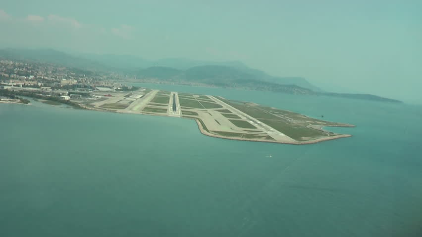 Final Approach. Aircraft landing in Nice. Crew view.