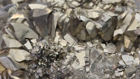 Pyrite mineral on the rotation surface
