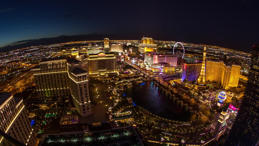 LAS VEGAS - CIRCA JULY 2014: Las Vegas Strip wide angle at night fisheye lens | Shutterstock HD Video #7454434