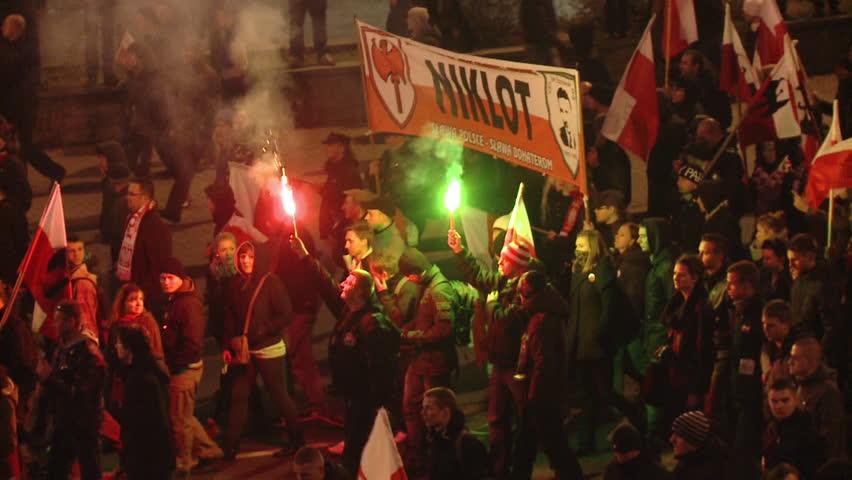 Warsaw, Poland: Far right demonstration at Polish Independence Day. Warsaw city center at november 11th 2013.