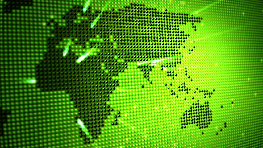 Digital Green World Map On Led : стоковое видео