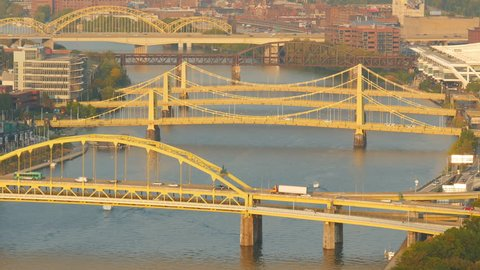 Traffic crosses the Allegheny River bridges between the north shore and downtown Pittsburgh, Pennsylvania.