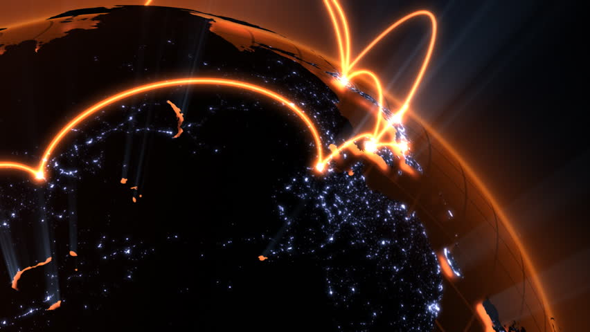 3d animation of a growing network across the world - orange version - HD stock video clip