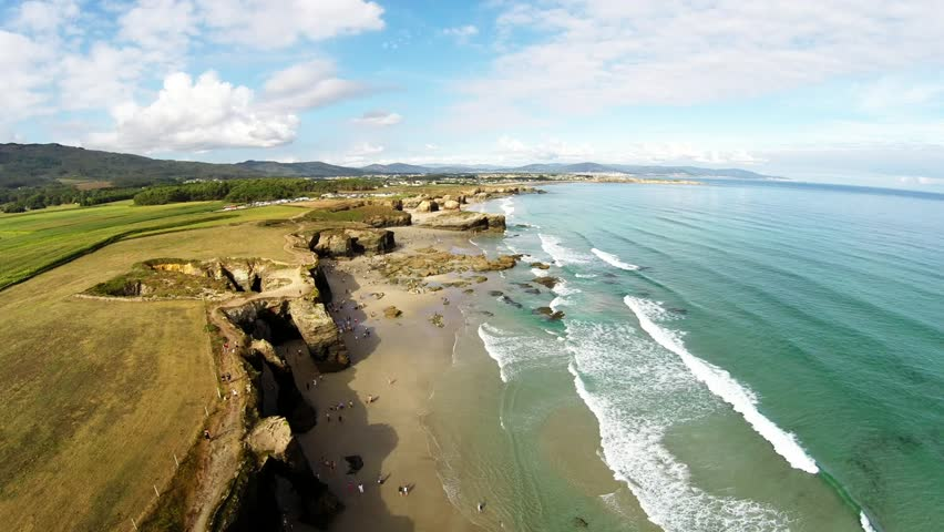 Aerial view of Playa de las Catedrales - Beautiful beach in the north of Spain