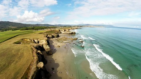 Aerial view of Playa de las Catedrales - Beautiful beach in the north of Spain