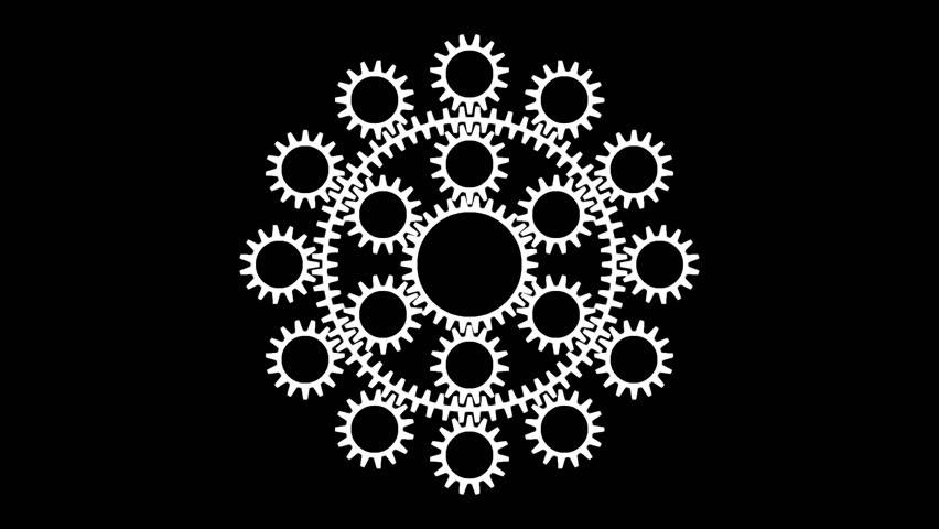 mechanical gear logo intro stock footage video 10813541
