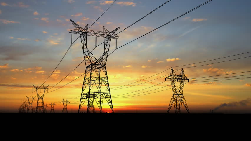 Electricity pylons. Moving along two row of pylons.