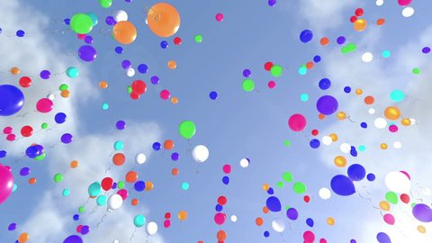 Colorful Ballons Raising to the Sky