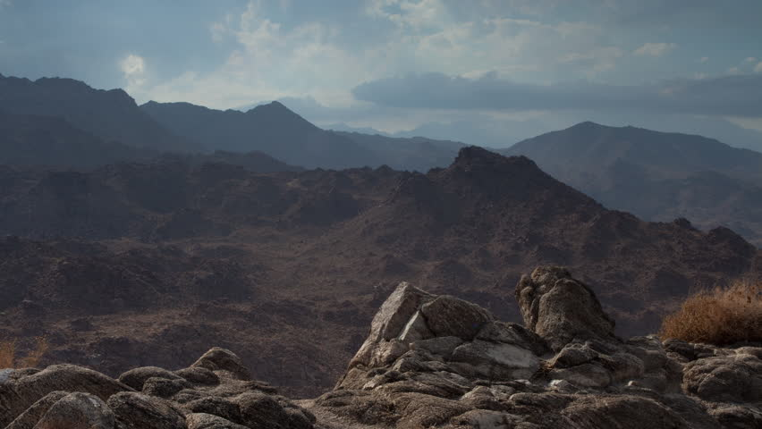 4K time lapse of desert mountains rain clouds in the San Jacinto Mountains near Palm Springs California