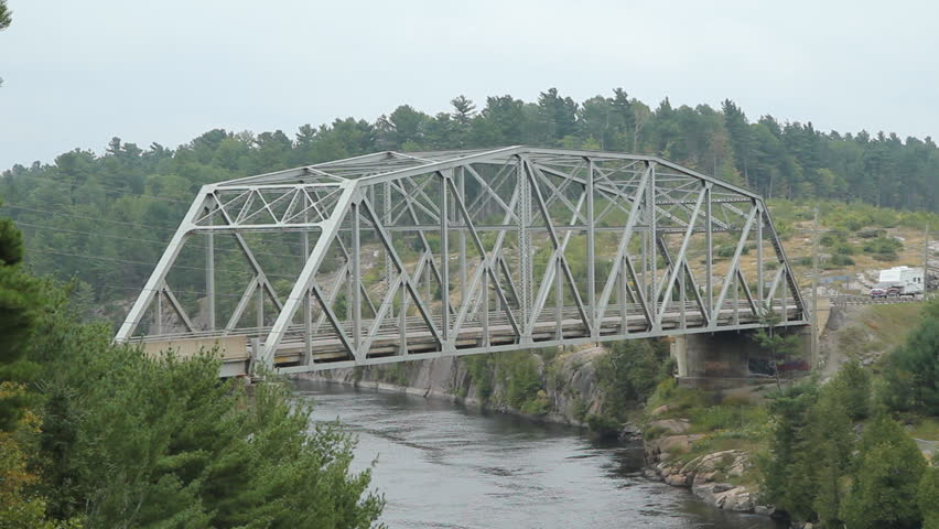 Steel Buildings Ontario >> Steel Pratt Truss Bridge Over Stock Footage Video (100% Royalty-free) 7632664 | Shutterstock