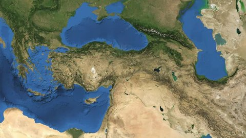 Turkey. 3d earth in space - zoom in on Turkey contoured. Elements of this image furnished by NASA