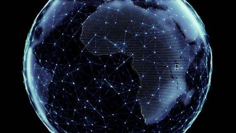 Global network. Digital world globe connected. HD 1080 seamless loop