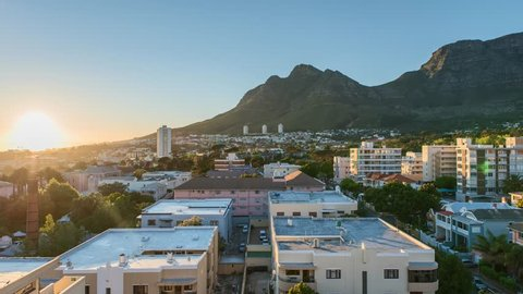 4K Timelapse 4096x2304 UHD of Cape Town Table Mountain as sunset, from day to night as the sun sets. Holy grail timelapse shot in Cape Town South Africa