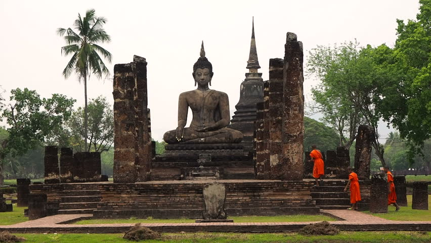 Ancient Temples Of Sukhothai In Thailand Stock Footage -9528