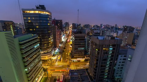 Panning time lapse of Lima cityscape at dusk into night.