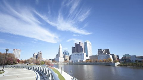 COLUMBUS, USA - NOV 9, 2011: 4K Time lapse of Columbus skyline and the Scioto River at daytime. Columbus is the capital of Ohio