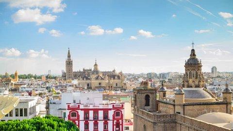 Seville, Spain city skyline time lapse.