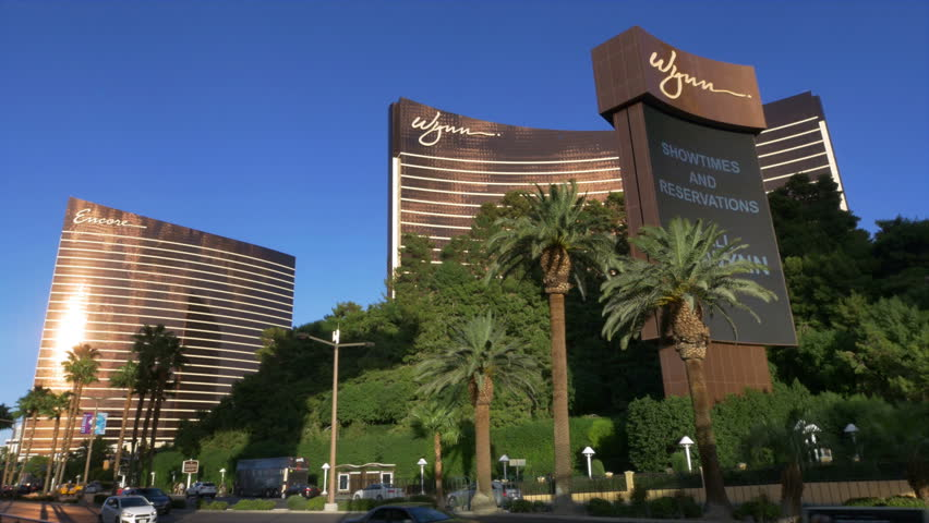 LAS VEGAS, USA - OCTOBER 2014: The Wynn & Encore Hotel and casino complex on the Las Vegas Strip. Wide angle view showing both towers and traffic in front.