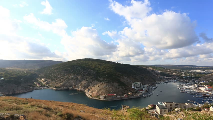 top view to Balaklava and Balaklava Bay in the sunny summer day - HD stock video clip