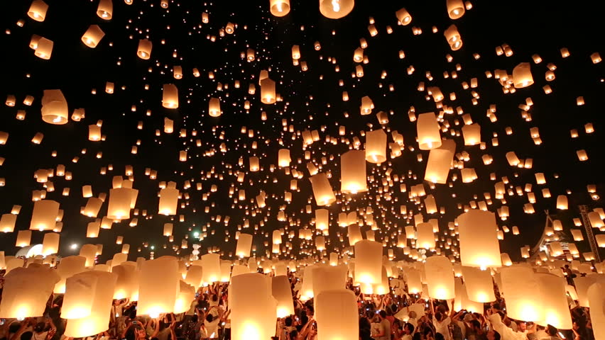 Floating lanterns in Yee Peng Festival, Loy Krathong celebration in Chiangmai, Thailand. Wide angle view. #7733254