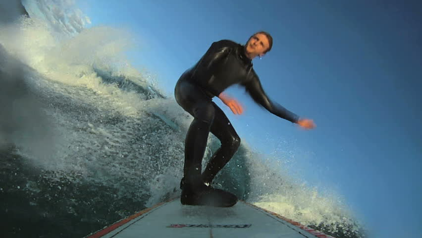 Surfing pov. HD Slow Motion. Barreled and wipe out.    Shutterstock HD Video #7733614