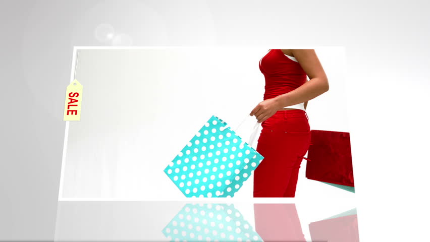 Digital animation of festive woman with sale shopping bags on white background | Shutterstock HD Video #7743829
