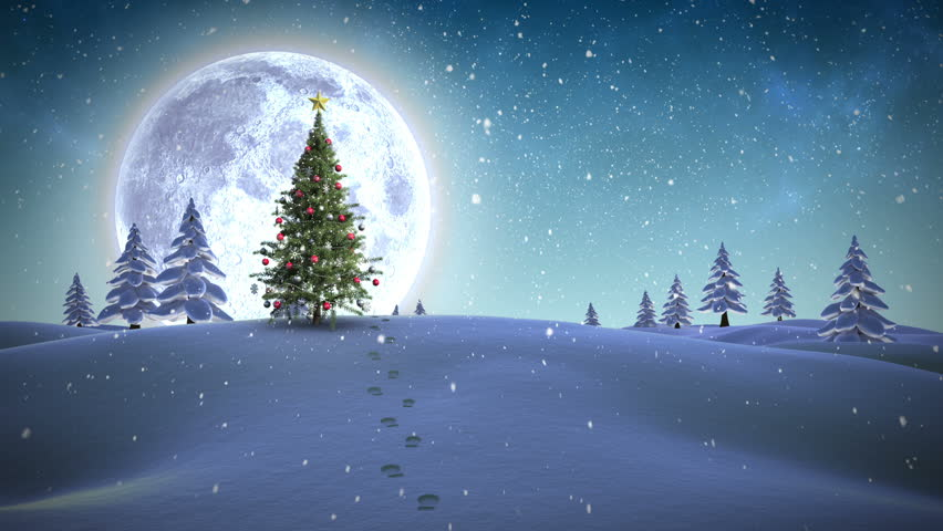 Digital animation of Feliz navidad message appearing in snowy landscape | Shutterstock HD Video #7750627