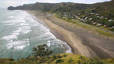 Piha Beach on the west coast of Auckland, New Zealand - time lapse