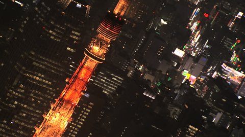 Aerial illuminated close up city Rainbow Bridge transport night Tokyo Tower Bay travel Odaiba District Japan Asia