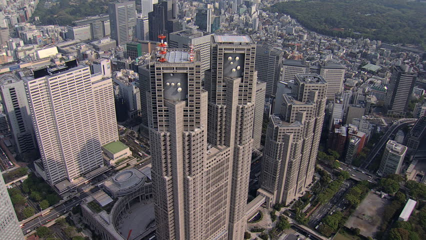 Aerial overhead view Tokyo city Metropolitan Government Building Business district Shinjuku Japan East Asia | Shutterstock HD Video #7794847